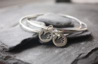 Double Silver Bangle with 2 Tiny Treasures handprint charms